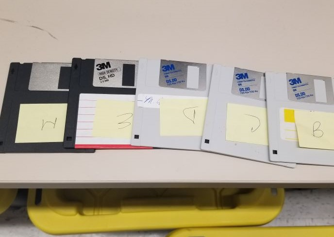 A collection of floppy disks.